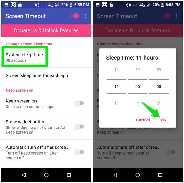 Screen Timeout sleep timer