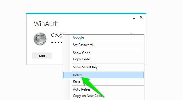 Delete Google Authenticator account