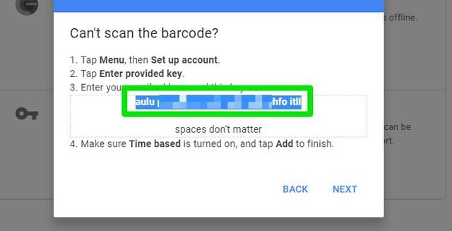 Google Authenticator secret code