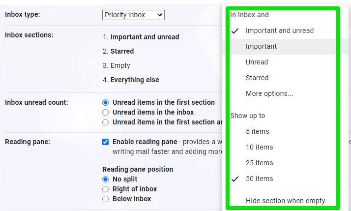 priority inbox options