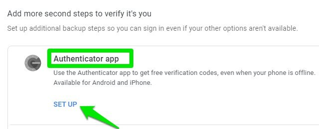 Set up authenticator app