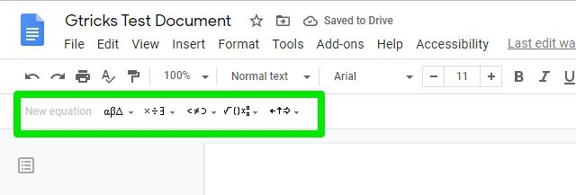 Google Docs Equation editor