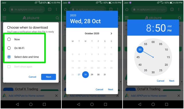schedule downloads in Chrome for Android