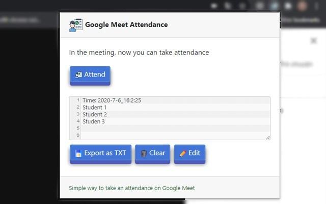Attendance for Google Meet