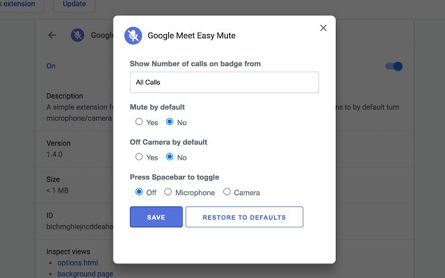 Google Meet Easy Mute
