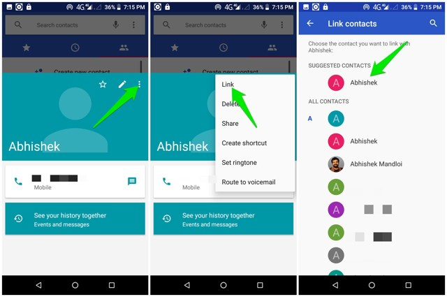 Link contact on Android
