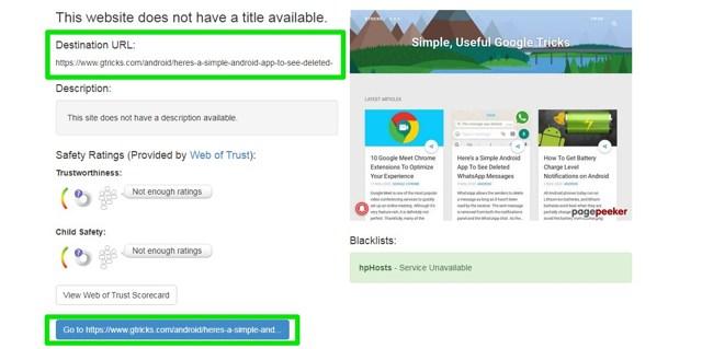 unshorten links in Chrome
