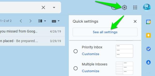 Gmail all settings