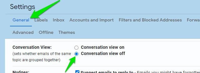 Disable conversation view in Gmail