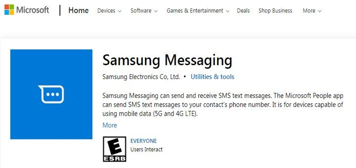 Samsung Messaging App For Windows 10 Spotted On The Microsoft Store