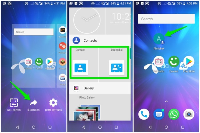 Add contact to Android home screen