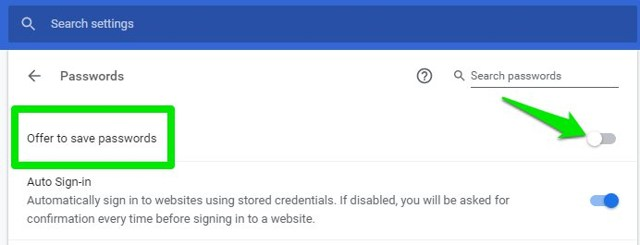 Disable Chrome password manager