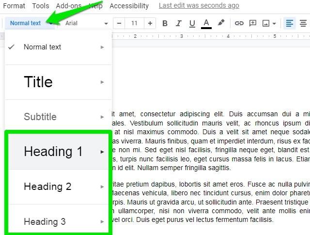 add heading in Google Docs
