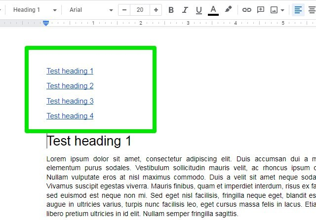 make table of contents in Google Docs