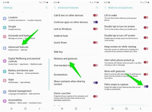 Take screenshot with palm swipe on Samsung