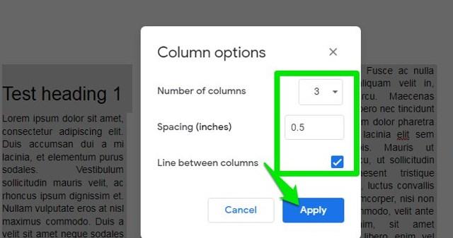 change columns space