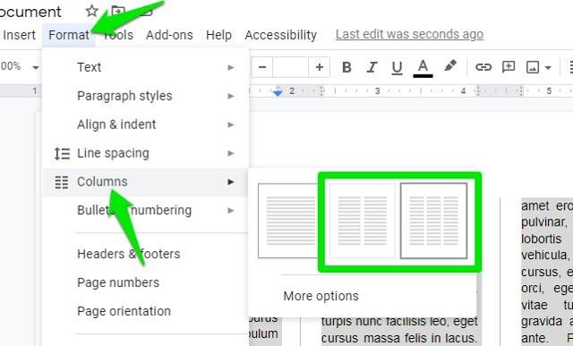 Make columns in Google Docs