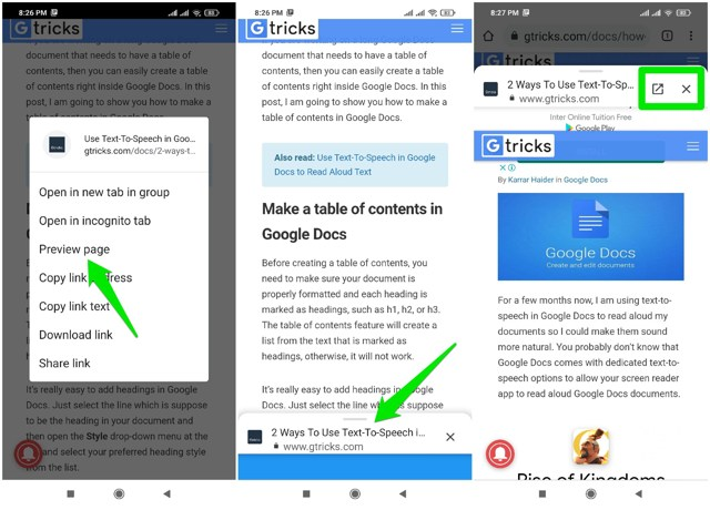 Preview links in Chrome Android app