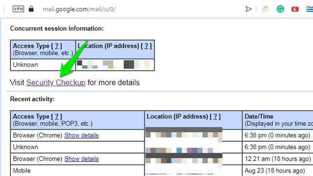 Google Security Checkup button