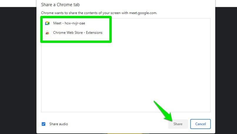 Select Chrome tab