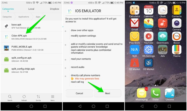 Use iOS apps on Android using emulator