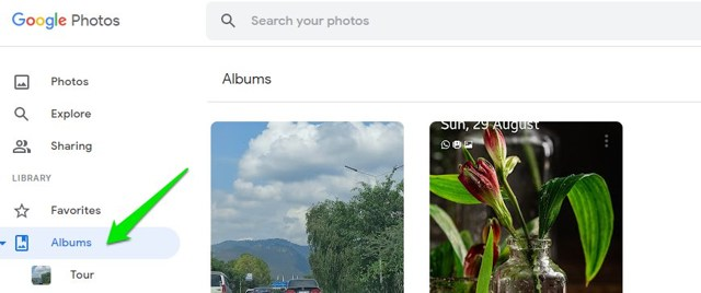 Click on albums