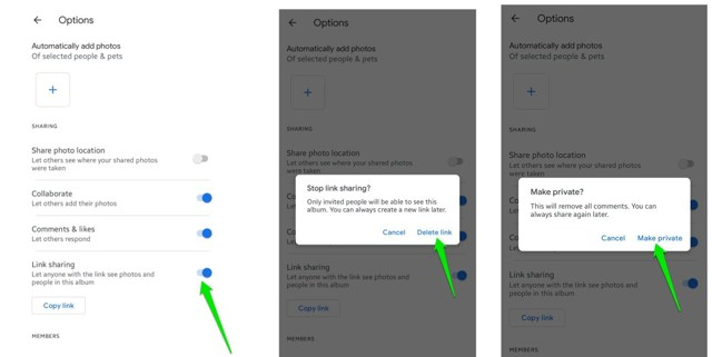 disable link sharing on Google Photos Android